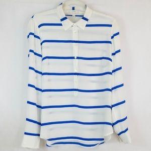 J. Crew 100% Silk Striped Long Sleeve Blouse SZ 10